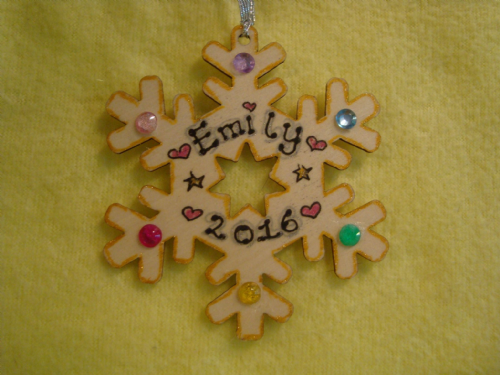 Personalised Wooden Snowflake Shaped Christmas Tree Hanger with gem Decorations Any Name 2016 or any Year